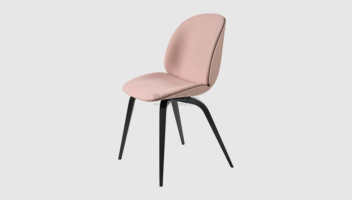 Beetle Dining Chair - Front Upholstered - Wood base椅子