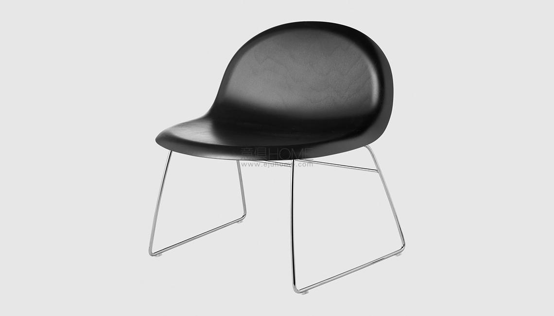 3D Lounge Chair - Un-upholstered - Sledge base休闲椅